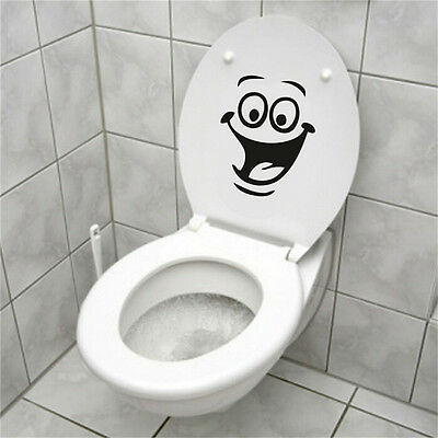 Smiley Face WC Toilet Decal Wall Mural Art Decor Funny Bathroom Sticker Viny @C