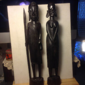Pair of Ebony Wood Figures Man & Woman from Africa