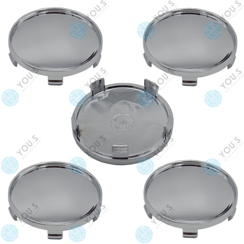 8 x YOU.S Hub Caps Rim Cover Carrier 68,0 - 65,0 mm - Chrome Plated