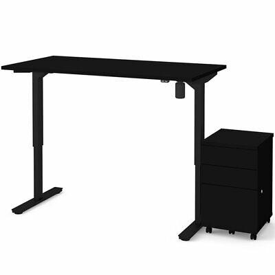 Bestar 60 Electric Adjustable Standing Desk With File Cabinet