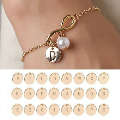 (1PC Simulated Pearl Letters Disc Charm Infinity Symbol Bracelet Link Adjustable)