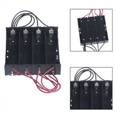 Battery Storage Case Plastic 4 X 18650 Box Holder Black With 6in Wire Leads Ass