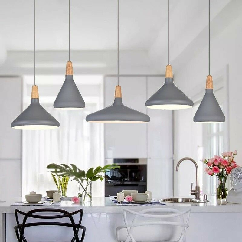 Kitchen Pendant Light Bar Lamp Wood Pendant Lighting Modern Grey Ceiling  Lights | eBay