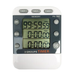 Digital LCD Count Up/Down Timer and Clock 3 Event,Stopwatch,Large Display,Magnet