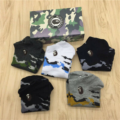 5Pairs WITH BOX A BATHING APE Men's BAPE Camouflage SOCKS Casual Ankle Socks