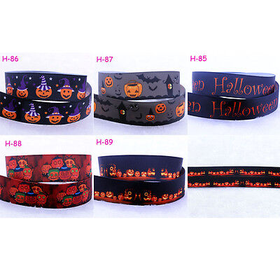 1-10yds 7/8''(22mm) Halloween pumpkin Cartoon Printed Grosgrain Ribbon DIY Craft](Cartoon Halloween Pumpkins)