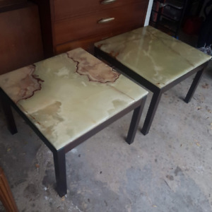 Marble Tables(2) with Rosewood Base
