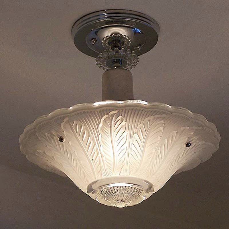 549B Vintage 40s aRT DEco Ceiling Light Lamp Fixture Glass Chandelier Re-Wired