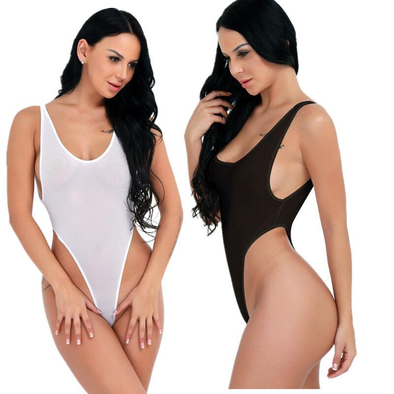 Women Swimwear High Cut Leotard Backless Bodysuit Monokini See-through Nightwear