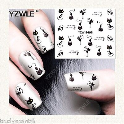 Nail Art Water Decals Transfers Halloween Green Eyes Scary Cats Gel Polish 8498