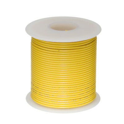 22 Awg Gauge Stranded Hook Up Wire Yellow 25 Ft 0.0253 Ul1015 600 Volts