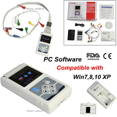 12-channel 24h Holter Tlc5000 Monitor Ecg Ekg System Recorder Software Analyzer