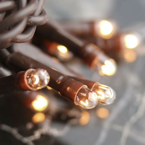 Light Set String Strand - Clear Teeny Rice Bulbs - 100 CT Count - Brown Cord