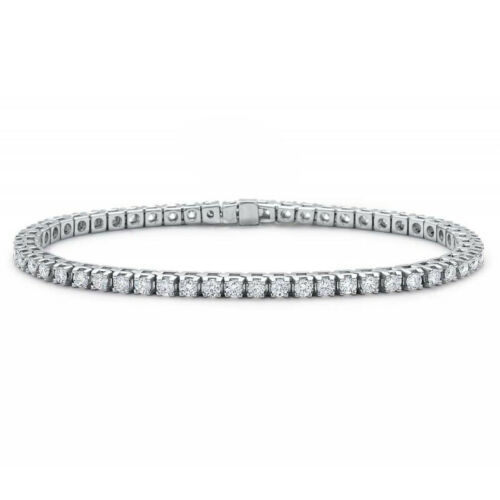 18K White Gold Plated Tennis Bracelet Round Brilliant 3mm ITALY MADE