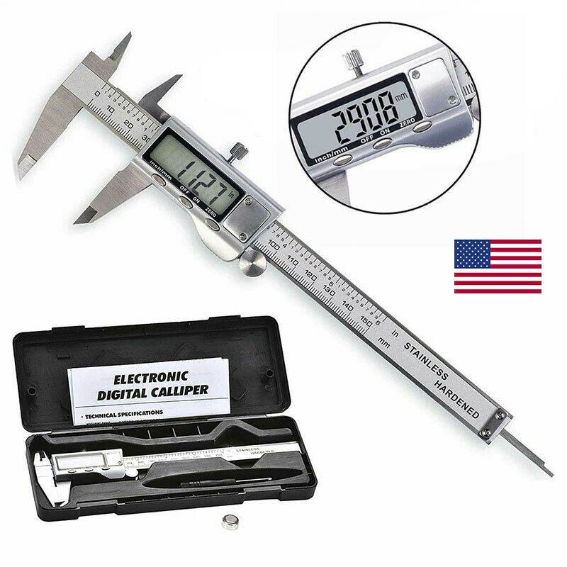 Stainless Aolly Digital Caliper Vernier Micrometer Gauge Meter Battery Included