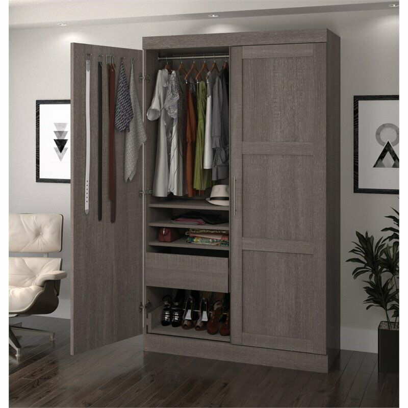 Bestar Pur Pullout Armoire in Bark Gray