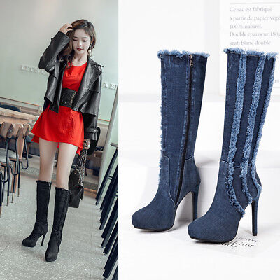 Denim Fashion Stiefel (Fashion Denim Boots Damen Wadenhohe Stiefel High Heels Jeans Schuhe Gr:33-43 TOP)