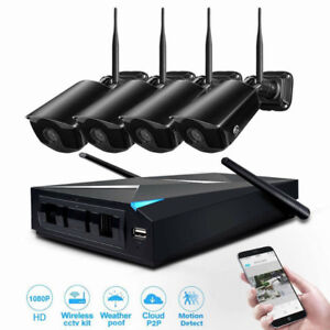 Wireless Security Cameras HD System 4 Channel 1080p Video