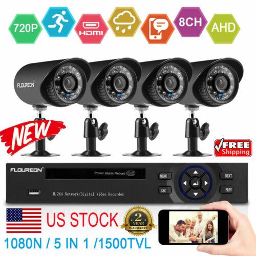 FLOUREON 1080N 1500TVL CCTV Security Camera HD 8CH DVR Video