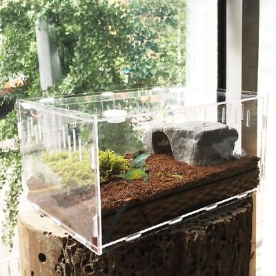 Reptile Breeding Box Acrylic Amphibian Cage Transparent With Thermometer