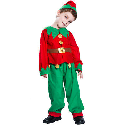 Kids Elf Costume Xmas Christmas Santa Claus Boys Girls Fancy Dress Party Outfit