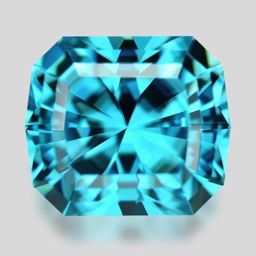 2.17cts FANTASTIC CUSTOM CUSHION CUT NATURAL BLUE ZIRCON VIDEO IN DESCRIPTION