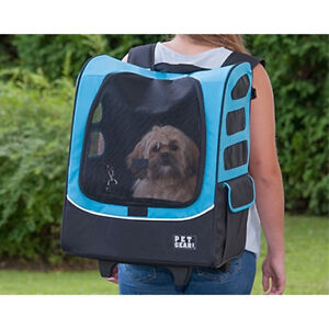 Pet carrier, backpack and has wheels
