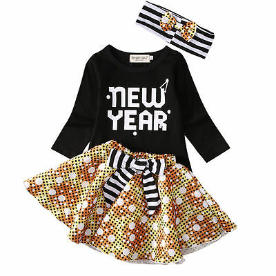 US STOCK Toddler Baby Girl Clothes Tops+Tutu Skirt Dress 3pcs Outfits Set 0-3T