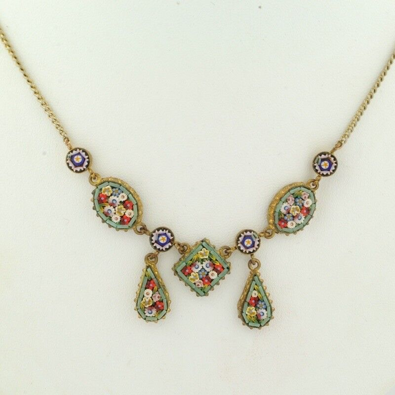 Antique Micro Mosaic Necklace Italy