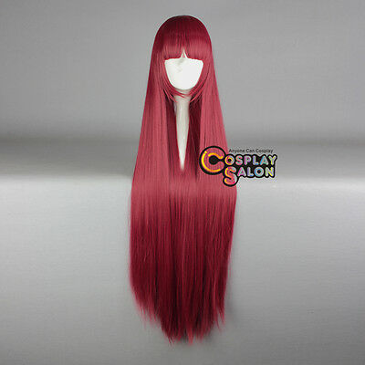 100CM Basic Long Red Straight Halloween Anime Lolita Neat Bang Hair Cosplay Wig](Halloween Red Hair)