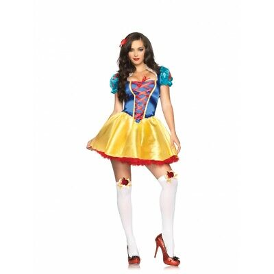 Women's Fairytale Snow White Princess Halloween Costume Dress Headband Bow