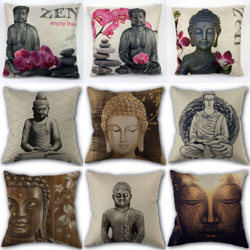 Linen Cotton Art Design Buddha Statue Pillow Cover Square Throw Pillow Cases 18 Ebay