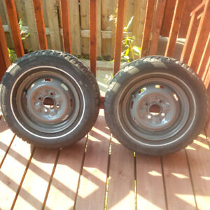 Two 12 inch rims 100x4 + one P155/80R12 tire