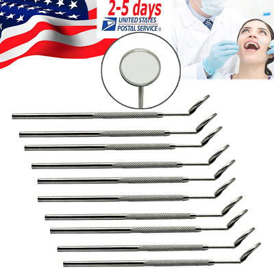 10pcs Mouth Mirror Handle Size4 Steel Dental Oral Reflector For Check Teeth Ce