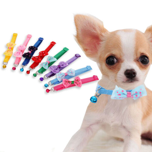Adjust Small Pet Dog Bow Tie Collar Puppy Cat Kitty Buckle N