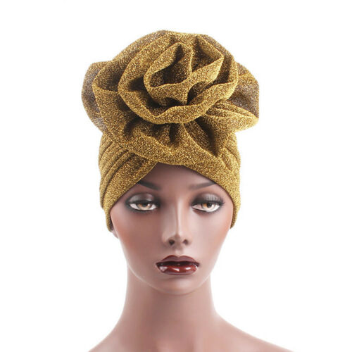 Elegant Flower Glitter Turban Hat Muslim Indian Cap Women He