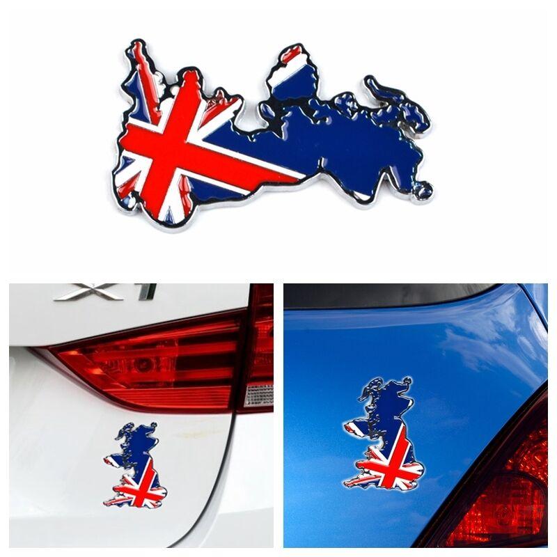 3D UK England Flag Map Style Sign Emblem Badge Symbol Decal Sticker Chrome Parts
