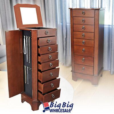 Jewelry Necklace Holder Cabinet Amoire Storage Organizer Wooden Drawer W/ Mirror