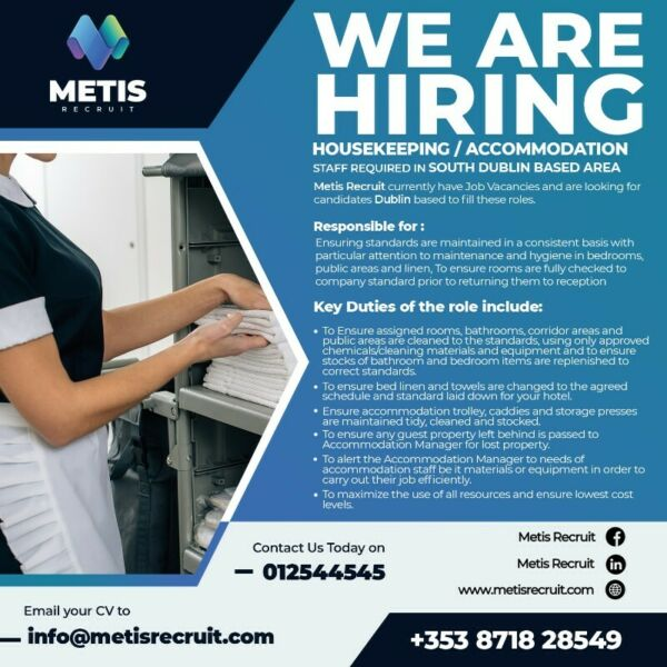 HOUSEKEEPING / ACCOMMODATION STAFF REQUIRED