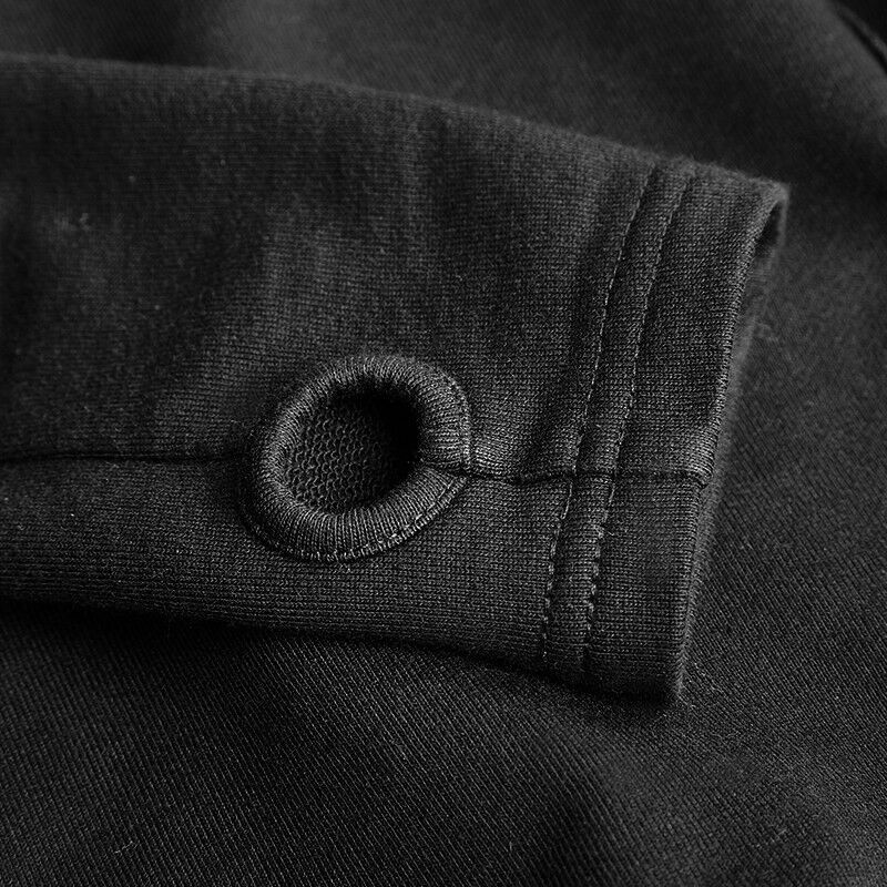 PUNKRAVE BLACK DARKNESS GOTHIC FLEECE IRREGURAL BOTTOM HEM CARDIGAN JACKET Y-615 Clothing, Shoes & Accessories