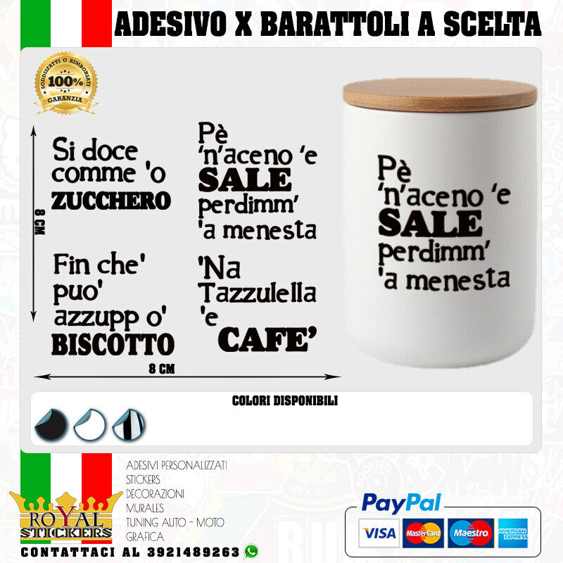 1 X ADESIVO X BARATTOLI SALE,ZUCCHERO,CAFFE' E BISCOTTO-CONTENITORI CUCINA CELTA