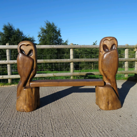 Unique Carved Solid Wood Owl Bench. Handmade in Staffordshire.