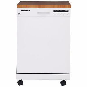 "GE 24"" Portable Dishwasher with Stainless Steel Tub GPF400SGFWW"