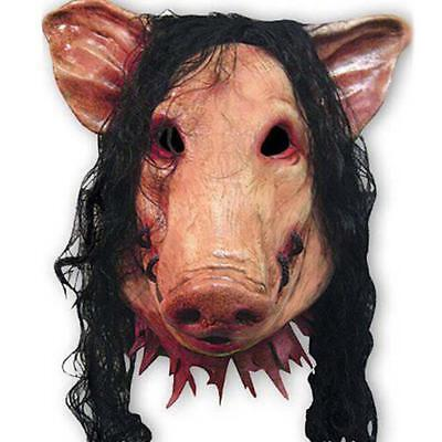 Scary Saw Pig Latex Mask Full Head Horror Animal Cosplay Prop Halloween Party US (Pig Head Mask Saw)