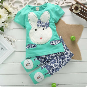 2PC-New-Baby-Kids-Top-Short-Pants-Set-Clothes-Cute-Rabbit-Size-1-4-Years