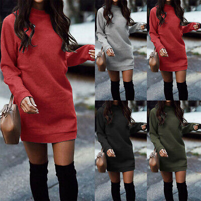 US Womens Plain Sweater Jumper Mini Dress Long Sleeve Pullover Sweatshirt Tops
