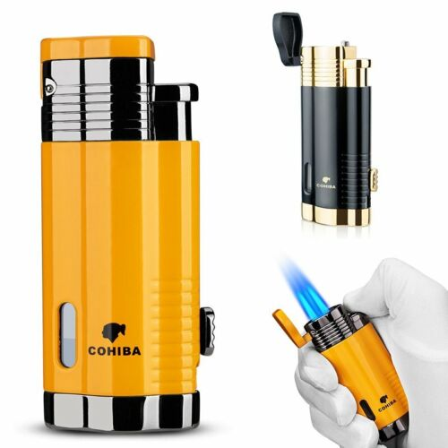 Cigar Lighter 3 Torch Jet Flame with Punch Windproof Butane