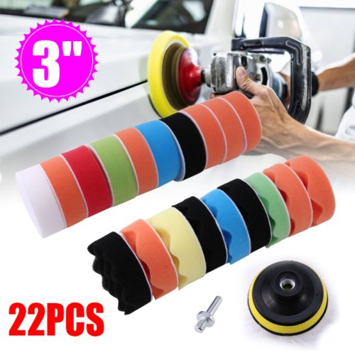 22 PCS Polishing Waxing Buffing Sponge Pads Kit For Car Polisher cleaning 3 inch