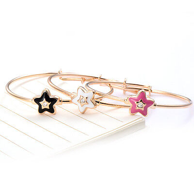 Toddler Kids Girls Baby rose Star Bangle Crystal Bracelet Adjustable Jewelry Lot