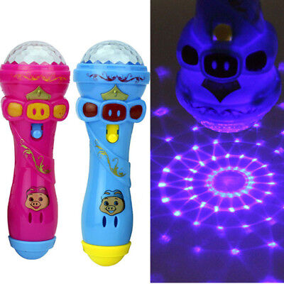 Colorful LED Light Up Flashing Projecting Torch Shape Kids Children Funny Toys